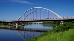 Wittenberg, the bridge and river Elbe Stock Footage