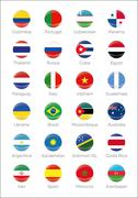Round symbols of participating countries to the futsal tournament in colombia Stock Illustration