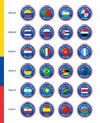 Symbols of participating countries to the final futsal tournament in colombia - stock illustration