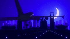 Riyadh Saudi Arabia Airplane Landing Skyline Blue Moonlight Background Stock Footage