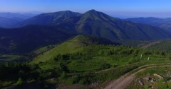 Flying over the Marmaray ridge in Carpathian mountains Stock Footage