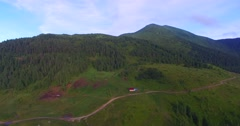 Aerial view of farm in mountains. Stock Footage