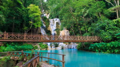 Kuang Si Waterfall Famous Landmark Nature Travel  Place Of Luang Prabang, Laos Stock Footage