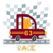 Fox with car t-shirt design vector illustration. Stock Illustration