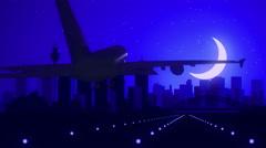 Sydney Australia Airplane Landing Skyline Blue Moonlight Background Stock Footage