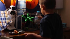 Boy playing in the children's room - stock footage