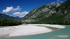 Tagliamento river in Alps Stock Footage