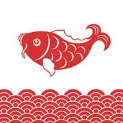 Vector carp fish and wave for Chinese new year - stock illustration