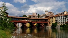 Bassano del Grappa Ponte Vecchio in northern Italy Stock Footage
