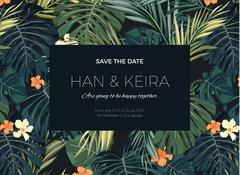 Wedding invitation or card design with exotic tropical flowers and leaves Stock Illustration