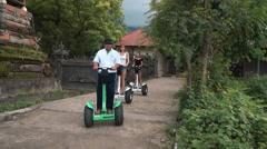 Segway tour through Bali village in Pemuteran area Stock Footage