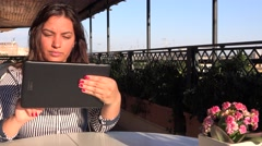 Business woman sliding tablet touchscreen outside beautiful girl online work 4K Stock Footage