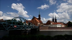 Breslau the cathedral island and river Oder Stock Footage