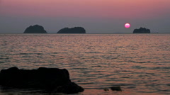 The sun sets in the sea Stock Footage