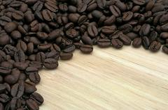 semicircle with coffee beans - stock photo