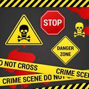 Warning danger crime signs on rusty background Stock Illustration