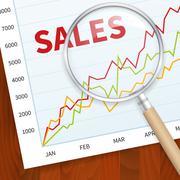 positive business sales chart - stock illustration