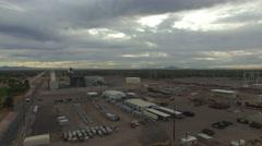 4K Aerial Arizona Water Treatment Facility Sunrise - Crane Down Stock Footage