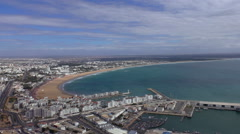 Moroccan city Agadir Atlantic coast pan Stock Footage