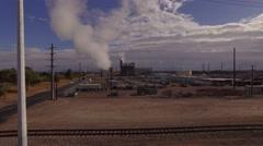4K Aerial Arizona Water Treatment Facility Sunrise - Crane Up Stock Footage