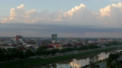TIMELAPSE Sunset clouds over city,Battambang,Cambodia Stock Footage