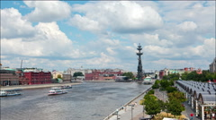 View from the Crimean bridge on the river panorama of Moscow. Stock Footage