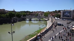 Castel Sant'Angelo cityscape Stock Footage