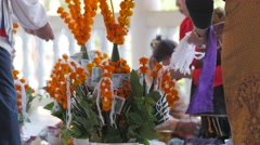 People decorating offering,Vientiane,Laos Stock Footage