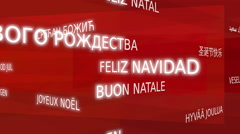 Merry christmas, multilingual - red variant, loop able Stock Footage