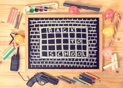 top view humorous concept of hate school as prison with text back to school i - stock photo
