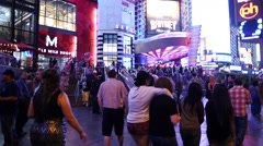 Time Lapse - Crowds Outside of Planet Hollywood Casino Stock Footage