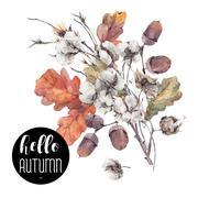 Autumn vector vintage cotton flower Stock Illustration