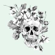 Skull and twigs, cotton flower, yellow oak leaves - stock illustration