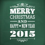 Merry christmas and happy new year 2015 write on chlakboard Stock Illustration