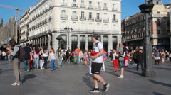 Puerta del Sol in Madrid, Spain Stock Footage