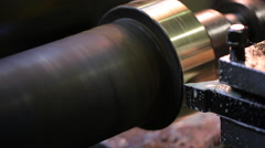 Processing shiny metal parts using factory machine Stock Footage