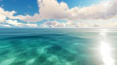 Tropical sea sky clouds blue 3D rendering - stock illustration