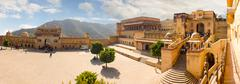 Jaipur, India, november 10, 2011: High-resolution panorama Amer Fort Stock Photos