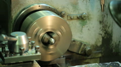 Little metal piece is processed at milling machine running is running Stock Footage