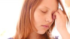 Crying sad teen girl in depression. 4K UHD - stock footage