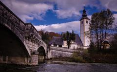 Old St. John church at Bohinj lake, Slovenia Stock Photos