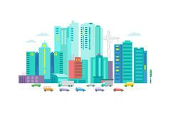 Cars in the city. Metropolis street on white background Stock Illustration