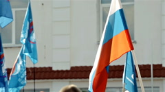 Russian flag waving in crowd Stock Footage