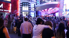 Zoom Out - Timelapse of Crowds Outside of Planet Hollywood Casino Stock Footage