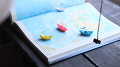 Planning vacation trip with map Stock Footage