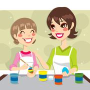 Mother and Daughter Painting Stock Illustration