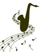 Silhouette of a saxophone on a white background Stock Illustration