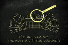 Magnifying glass on shopping cart & big cash, market research Stock Illustration