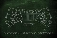 full shopping cart & big cash around it, marketing & consumerism - stock illustration