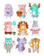 Stylized Funky Animals Birthday Party Sticker Set - stock illustration